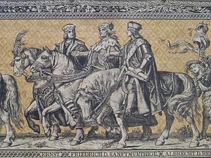 Albert III, Duke of Saxony - Ernest, Elector of Saxony (1464–1486), Frederick II, Elector of Saxony (1428–1464) and Albert III, Duke of Saxony (1486–1500); from left to right, Fürstenzug, Dresden, Germany
