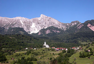 Krn - View of the village of Drežnica and Mt. Krn from the west