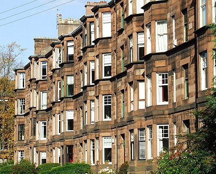 Typical red sandstone Glasgow tenement in Hyndland Dudley Drive - geograph.org.uk - 580164.jpg