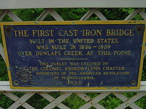 Brownsville, Pennsylvania - Plaque commemorating the first cast iron bridge built in the United States