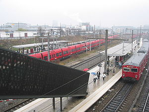 Dybbølsbro station - View from the pedestrian and bicycle bridge over the station and across the tracks