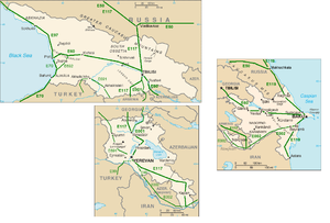 Maps over the E-roads in Georgia, Azerbaijan a...