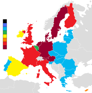 Choropleth map showing Open Europe estimate of...