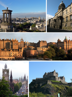 Clockwise from top-left: View from Calton Hill, Old College, University of Edinburgh, Old Town from Princes Street, Edinburgh Castle, Princes Street from Calton Hill