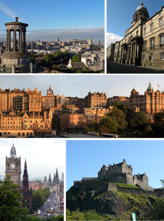 Edinburgh - Clockwise from top-left: View from Calton Hill, Old College, Old Town from Princes Street, Edinburgh Castle, Princes Street from Calton Hill