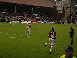 Edinburgh derby - Paul Hartley prepares to take a free kick in an SPL derby match played on Boxing Day 2006