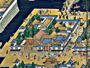Kamiyashiki of Matsudaira Tadamasa - Upper residence of Matsudaira Tadamasa as depicted in the Edo-zu byōbu screens (17th century)