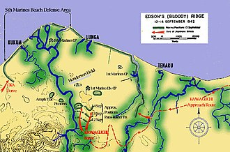 "Battle of Edson's Ridge - Map of the Lunga perimeter on Guadalcanal showing the approach routes of the Japanese forces and the locations of the Japanese attacks during the battle. Oka's attacks were in the west (left), the Kuma Battalion attacked from the east (right) and the Center Body attacked ""Edson's Ridge"" in the lower center of the map."