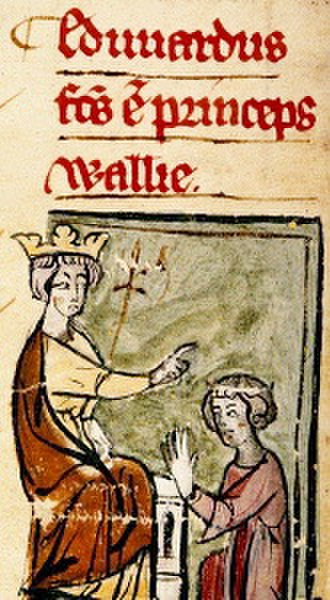 Edward II of England - Early 14th-century depiction of Edward I (left) declaring his son Edward (right) the Prince of Wales