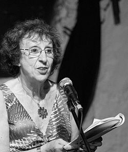 Elaine Feinstein reading at Shaar International Poetry Festival in Tel Aviv, October 2010. Photo credit Kaido Vainomaa.JPG