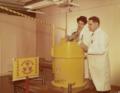 Eleanor Vadala and C.A. Cassola with a barrel of radioactive material br86b383m.tiff