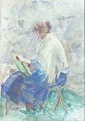 Louise pintando