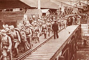 African theatre of World War I - Portuguese troops embarking for Angola