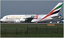 Emirates Airbus A380-861 (A6-EES) at Manchester Airport (EGCC).jpg