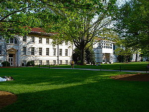 discrimination took place here in the 50s. Main Quad on Emory University's Druid Hills Campus