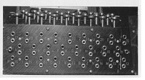The German Enigma plugboard (Steckerbrett), shown here with no cables connected, greatly improved the security of the machine. When in use, there can be up to 13 connections.