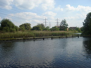 Enfield Lock (lock) -  Above the lock. The far bank shows the River Lea which connected to the Royal Small Arms Factory