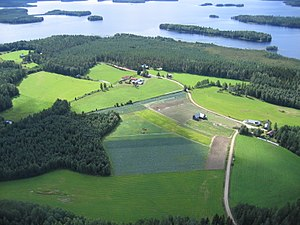 Agriculture in Finland - Farm and fields in Mäntyharju, eastern Finland