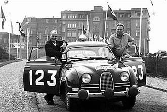 Tulip Rally - Erik Carlsson with his Saab before the 1962 event