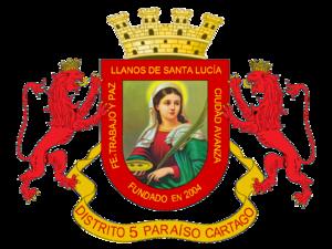 Santa Lucía de Paraíso - Image: Escudo Oficial Distrito Llanos de Santa Lucía