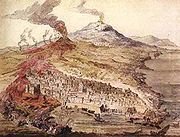 Contemporary drawing showing the devastating effects of Etna's 1669 eruption.