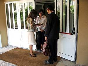 Jehovah's Witnesses practices - Jehovah's Witnesses preaching in Lisbon, Portugal.