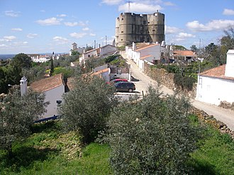 Castle of Evoramonte - The smooth surfaces of the castle of Evoramonte visible on the approach to the structure