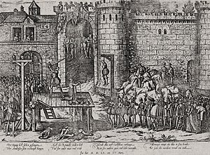 Francis II of France - The execution of the conspirators. Engraving by Jacques Tortorel and Jean Perrissin, 1569–1570