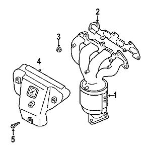 Exhaust manifold - Diagram of an exhaust manifold from a Kia Rio. 1. manifold; 2. gasket; 3. nut; 4. heat shield; 5. heat shield bolt