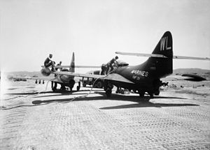 Pohang Airport - F9F-2s of VMF-311 at Pohang in 1951