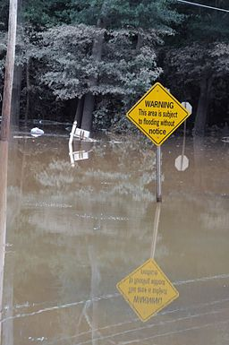 FEMA - 42051 - Flood Warning Sign in Flooded Georgia Area