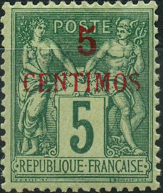 Postage stamps and postal history of Morocco - A French stamp surcharged for the French Post Office In Morocco, 1891.