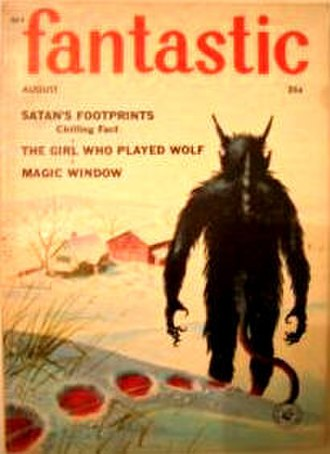 """Eric Frank Russell - Russell's essay """"Satan's Footprints"""" was cover-featured on the August 1958 issue  of Fantastic"""