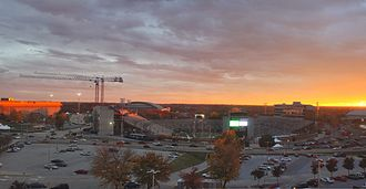 Missouri Tigers - From left to right, Tigers Hearnes Center, Mizzou Arena and Faurot Field.