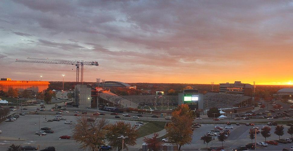 Faurot Field sunset skyline