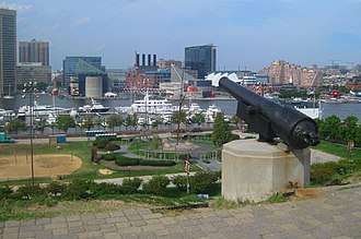 Maryland in the American Civil War - Cannon on Federal Hill, aimed at downtown Baltimore