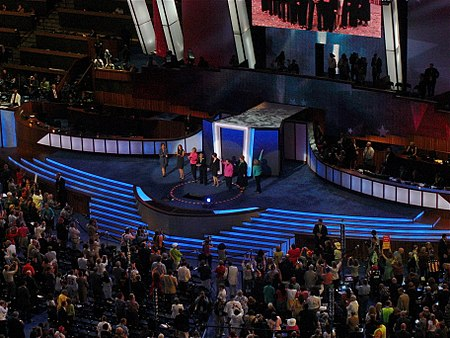 Eight Democratic women senators appear at the 2008 Democratic Convention in Denver. It has become a tradition at Democratic conventions for incumbent women senators to appear on opening night. Female senators DNC 2008.jpg
