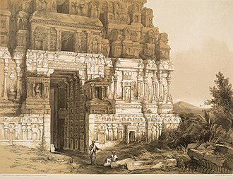 Nataraja Temple, Chidambaram - A 1847 sketch of gopuram with ruined pillars, published by James Fergusson