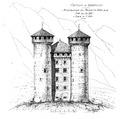 Fig 186, castello di Aymavilles, ricostruzione del prospetto nord alla fine del sec XV, disegno nigra.tiff