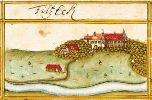 Filseck Castle - A depiction of Filseck Castle in the forest register books created by Andreas Kieser (c. 1680)