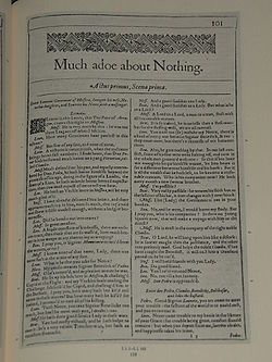 Facsimile of the first page of Much Ado About Nothing from the First Folio, published in 1623