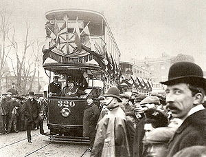 London United Tramways - 1 March 1906. The Mayor of Kingston upon Thames is about to drive number 320 onto Kingston Bridge. Clifton Robinson the Managing Director of London United Tramways is on the upper deck.