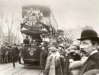 Trams in London - The first electric tram on Kingston Bridge, 1906