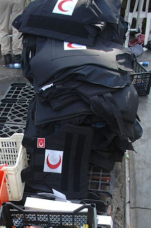 Gaza Freedom Flotilla - Bulletproof vests found on the deck of the Marmara.