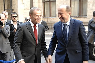 Lithuania–Poland relations - Polish and Lithuanian leaders: Donald Tusk and Andrius Kubilius, Warsaw 2009