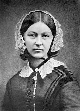 Black and white portrait of Florence Nightingale
