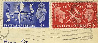 1951 in the United Kingdom - Stamps marking the Festival of Britain, with Festival icon on the 4d issue