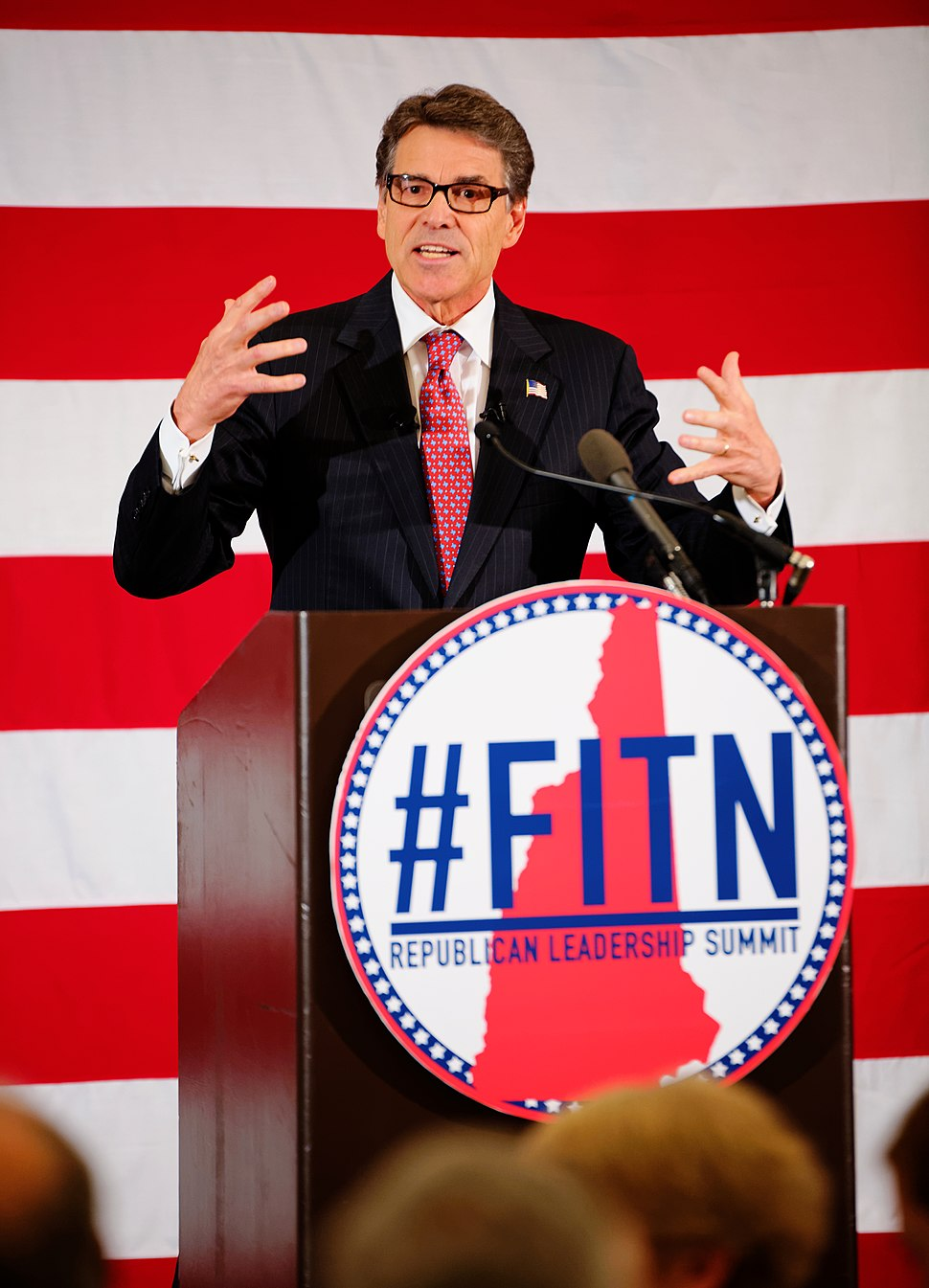 Former Texas Governor Rick Perry speaking at 2015 FITN (First in the Nation) Republican Leadership Summit in New Hampshire