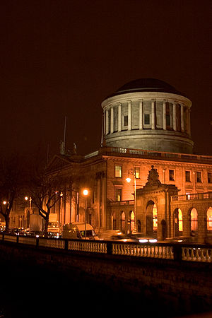 Night shot of the Four Courts, Dublin, Ireland.