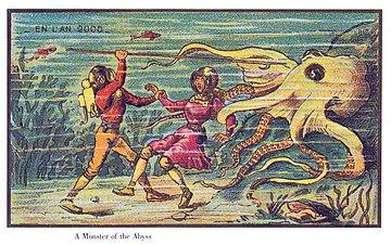 Осьминог нападает на водолазов. Открытка 1899 года